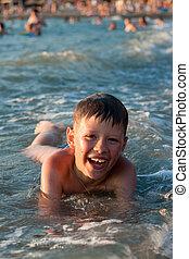 男の子, 入浴, 海