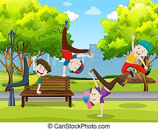 男の子, 公園, ダンス
