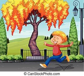 男の子, 公園, 幸せ