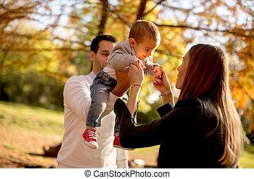 男の子, 公園, 若い, 秋, 親, 赤ん坊, 幸せ