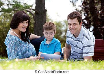 男の子, 公園, 若い, 親
