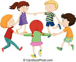 男の子, 円, 女の子, 手を持つ