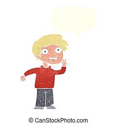 男の子, 写真, ポーズを取る, スピーチ泡, 漫画