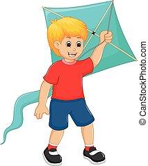 男の子, 凧, 漫画, 微笑, 遊び, ハンサム