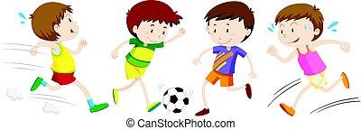 男の子, 別, スポーツ, 遊び