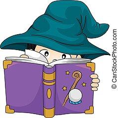 男の子, 勉強しなさい, 魔法使い, 本, 子供