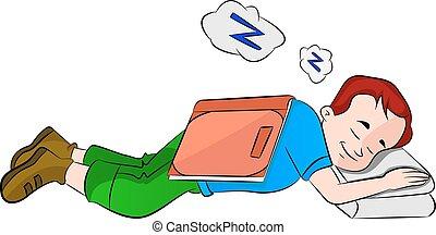 男の子, 勉強, イラスト, 間, 眠ったままで, 落ちる