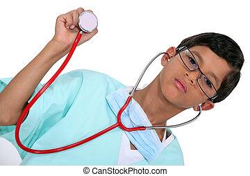 男の子, 医療補助員, 聴診器, 若い, 服を着せられる