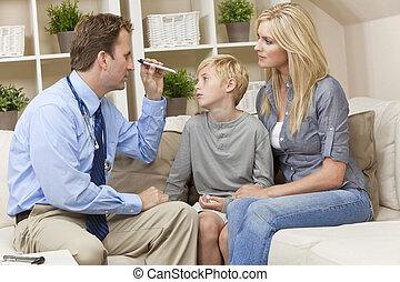 男の子, 医者, 検査, 訪問, 子供, 家, マレ, 母
