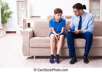 男の子, 医者, 訪問, インターネット, 常習している, マレ