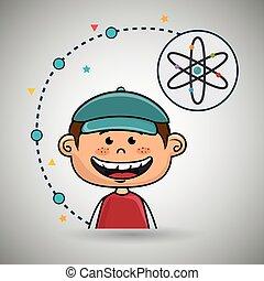 男の子, 原子, 漫画, アイコン