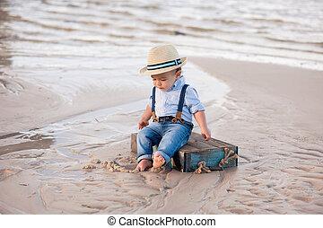 男の子, 古い, 1(人・つ), 年, 赤ん坊, 浜