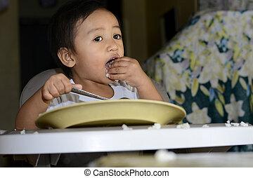 男の子, 古い, 1(人・つ), 1, 赤ん坊, 勉強, 年, きたない, 手, 食べなさい