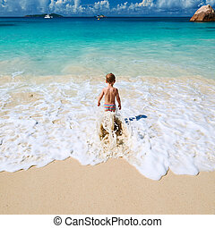 男の子, 古い, 2, 年, 浜, 遊び