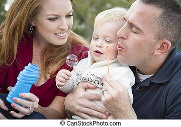 男の子, 吹く, 公園, 若い, ∥(彼・それ)ら∥, 親, 子供, 泡