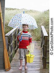 男の子, 地位, 上に, 歩道橋, ∥で∥, 傘