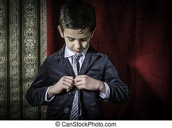 男の子, 型, スーツ