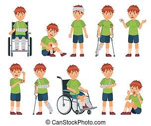 男の子, 壊れた, arm., 足, 傷つけられる, スポーツ, 車椅子, ベクトル, 手, injury., イラスト, セット, 頭, 漫画, 傷害, 子供