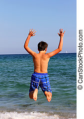 男の子, 夏季休暇, 跳躍, 海, 浜