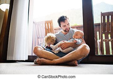 男の子, 夏, 父, day., 保有物, よちよち歩きの子, 赤ん坊