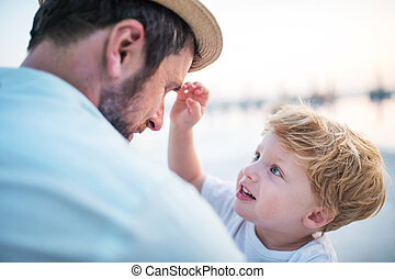 男の子, 夏, 父, holiday., 保有物, よちよち歩きの子, 浜