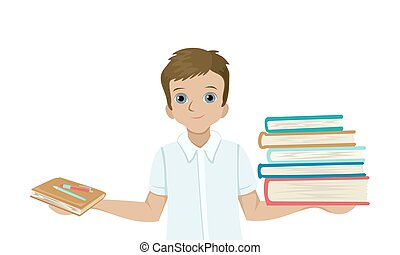 男の子, 大きい, 手, 山, 他。, ベクトル, 特徴, ノート, 学生, 手掛かり, 1(人・つ), 本, 重い