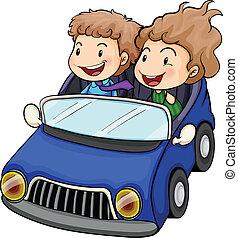 男の子, 女の子, 乗馬, 自動車