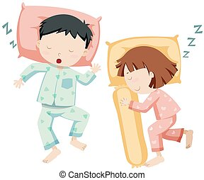 男の子, 女の子, 側, 睡眠