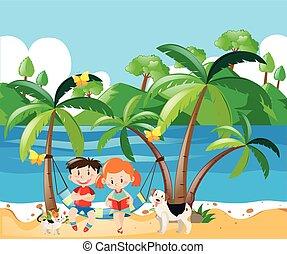 男の子, 女の子, 浜, 弛緩