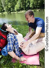 男の子, 女の子, 湖, くすぐること