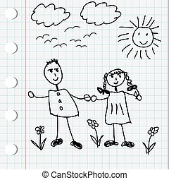 男の子, 女の子, 漫画, イラスト, いたずら書き