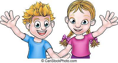 男の子, 女の子, 漫画