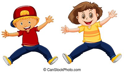 男の子, 女の子, 跳躍, の上