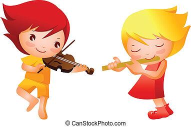 男の子, 女の子, 遊び, ミュージカル, instru