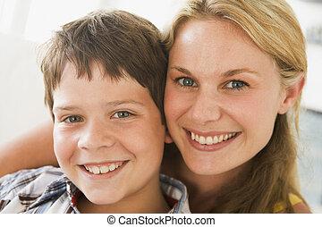 男の子, 女, 部屋, 暮らし, 若い, 微笑
