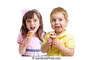 男の子, 子供たちが食べる, 2, 氷, 隔離された, 女の子, 白, クリーム