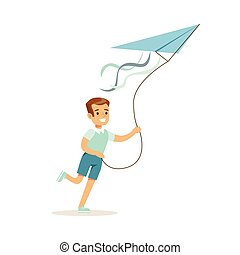 男の子, 子供, カラフルである, 凧, 特徴, イラスト, 屋外, ベクトル, 活動, 微笑, 遊び