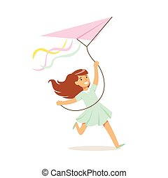 男の子, 子供, カラフルである, 凧, 飛行, 特徴, イラスト, 屋外, ベクトル, 活動, 微笑, 楽しむ
