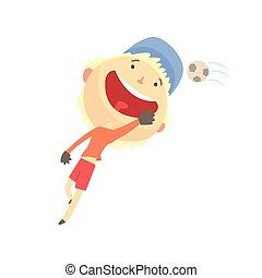 男の子, 子供, カラフルである, 特徴, フットボール, イラスト, 遊び, 屋外, ベクトル, 活動, 微笑, 漫画, 涼しい