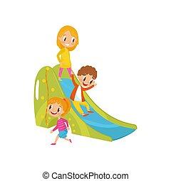 男の子, 子供, 女の子, イラスト, スライド, ベクトル, 運動場, 背景, 白, 遊び