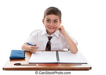 男の子, 学校学生, 机