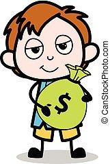 男の子, 学校, お金, -, イラスト, 袋, ベクトル, 保有物, 漫画, 特徴