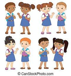 男の子, 学校, セット, 隔離された, 滞在, インド, ベクトル, 生徒, アフリカ, 女の子, バックパック, 漫画