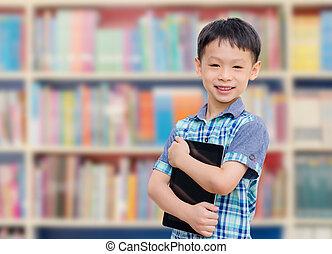 男の子, 学校, タブレット, 図書館, コンピュータ, アジア人, 微笑, came