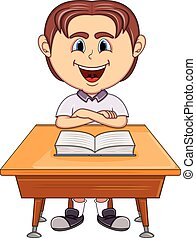 男の子, 学校, テーブル, 漫画, 勉強