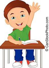 男の子, 学校, モデル, テーブル