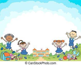 男の子, 学校, レタリング, 背中, ベクトル, 生徒, ロゴ, 女の子, 旗