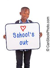 男の子, 学校, 保有物, 人々, アフリカ, -, 隔離された, アメリカ人, 黒い背景, ブランク, 板, 白