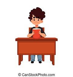 男の子, 学校, 利発, モデル, 机, 本, 保有物