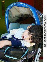 男の子, 学校, 古い, 車椅子, 不具, 待つこと, 5, 年
